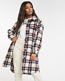 Checked Longline Relaxed Shacket
