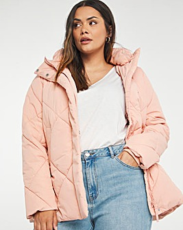 Rose Quilted Mid Length Duvet Coat