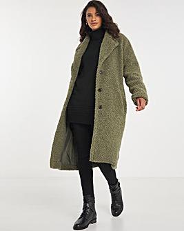 Khaki Faux Fur Teddy Coat