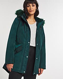 Forest Green Faux Fur Trim Parka