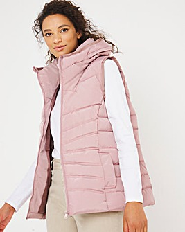 Dusky Pink Water Resistant Padded Gilet With Recycled Padding