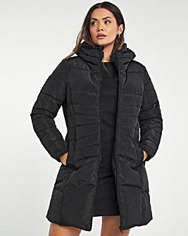 Black Water Resistant Longline Padded Coat