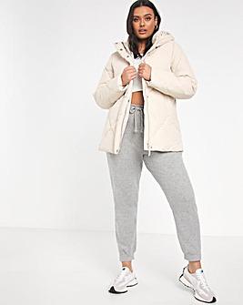 Ecru Quilted Mid Length Duvet Coat