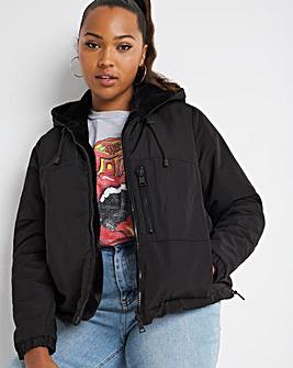 Black Reversible Faux Fur Hoodie