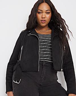 Black Suedette Biker Jacket