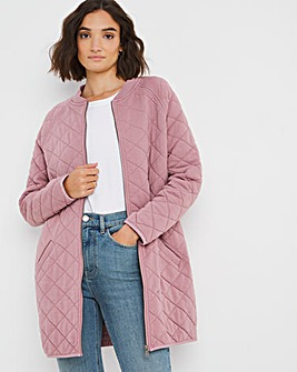 Longline Quilted Jersey Bomber Jacket