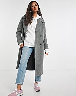Dark Grey Herringbone Relaxed Large Collar Coat