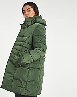 Khaki Water Resistant Longline Padded Coat