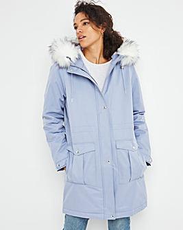 Dusky Blue Faux Fur Lined Parka