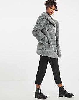 Grey Stepped Faux Fur Coat