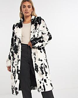 Glam Mono Print Faux Fur Coat