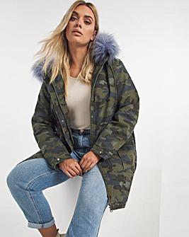 Camo Print Faux Fur Lined Parka