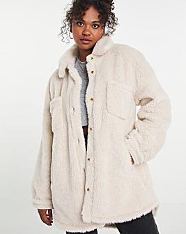 Cream Teddy Faux Fur Shacket