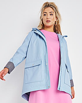Dusty Blue Coated Raincoat With Gingham Printed Lining