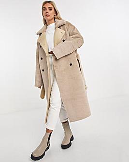 Sand Fur Lined Longline Reversible PU Coat