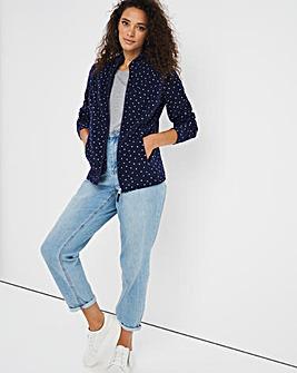 Navy Spot Print Fleece Jacket