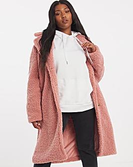 Dusky Pink Faux Fur Teddy Coat