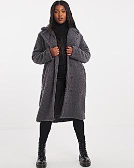Charcoal Faux Fur Teddy Coat