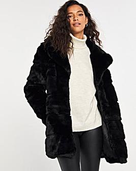Black Stepped Faux Fur Coat