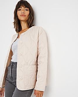 Ecru Short Quilted Liner Jacket