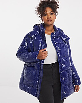 Mid Length High Shine Padded Coat and Hood