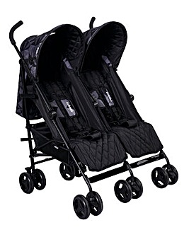 My Babiie Cherish Range Dani Dyer Black Geometric Double Stroller