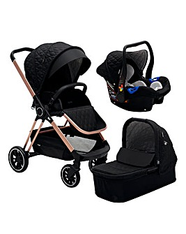 My Babiie Signature Range Billie Faiers Rose Gold Black Quilted Travel System