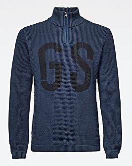 G-Star RAW Blue Structured Half Zip Knit