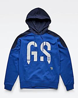 G Star Raw Lighting Blue 89 Logo Block Hoodie