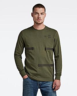 G-Star RAW Bronze Green Tape Long Sleeve T Shirt