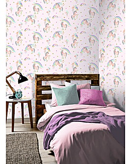 Rainbow Unicorn Pink Glitter Wallpaper