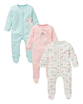 KD Baby Girl Pck 3 Unicorn Sleepsuits
