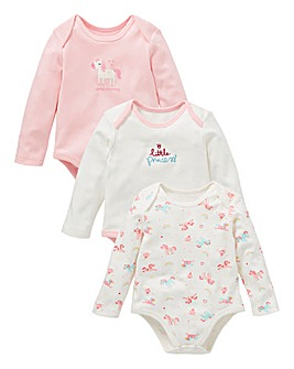 KD Baby Girl Pack of 3 Unicorn Bodysuits