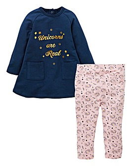 KD Baby Girl Unicorn Dress & Legging Set