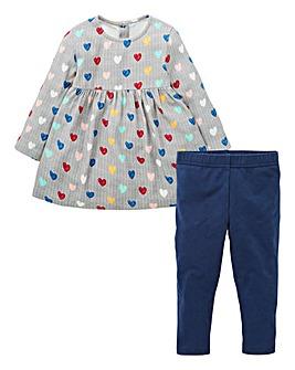 KD Baby Girl Heart Dress & Legging Set