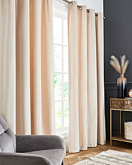 Luxury Heavyweight Velour Lined Eyelet Long Length Curtains