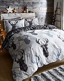 Tartan Stag Grey Duvet Cover Set