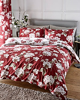 Catherine 180 Thread Count Cotton Red Duvet Cover Set