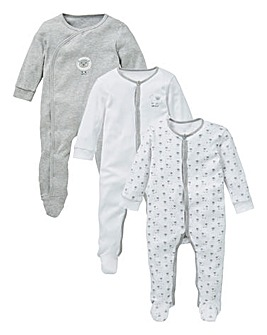 KD Baby Unisex Pck 3 Sheep Sleepsuits