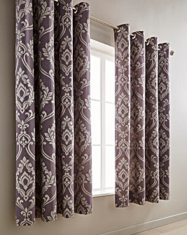 Baroque Jacquard Mauve Eyelet Lined Curtains