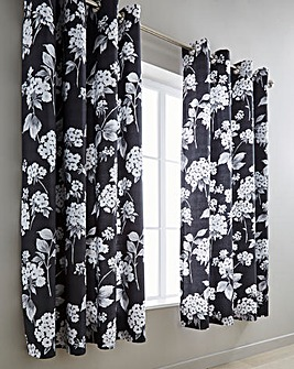 Catherine 100% Cotton Thermal Lined Black Eyelet Curtains