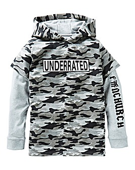 Fenchurch Boys Camo Double Layer Hoodie