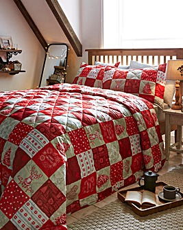 Festive Patchwork Throw and Pillowshams