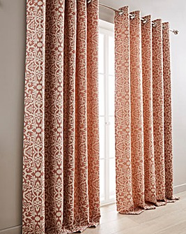 Lily Woven Lined Eyelet Curtains