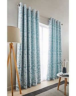 Orla Woven Lined Eyelet Curtains