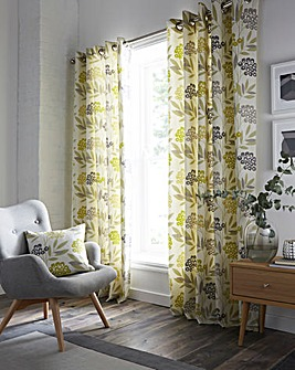 Karsten Printed Lined Eyelet Curtains