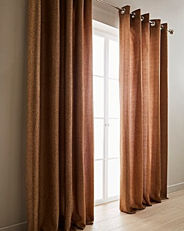 Basket Weave Long Length Lined Eyelet Curtains