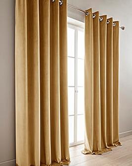 Luxury Velour Lined Eyelet Long Curtains