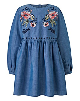 Joe Browns Girls Embroidered Denim Dress