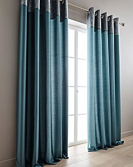 Morgan Metallic Top Border Lined Eyelet Curtains